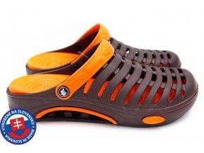 Pánské clogsy FLAMEshoes A-1003 tm. hnědá/oranžová