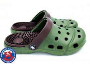 Pánské clogsy FLAMEshoes A-1001 tmavě zelená/hnědá