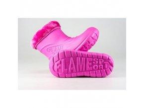 Dětské zateplené boty větší D-3001 FLAMEshoes růžové