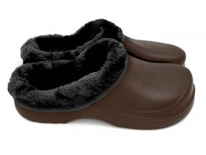 Dámské zateplené clogsy B-2002 FLAMEshoes hnědo-černé