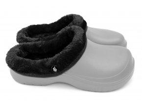 Dámské zateplené clogsy B-2002 FLAMEshoes šedo-černé