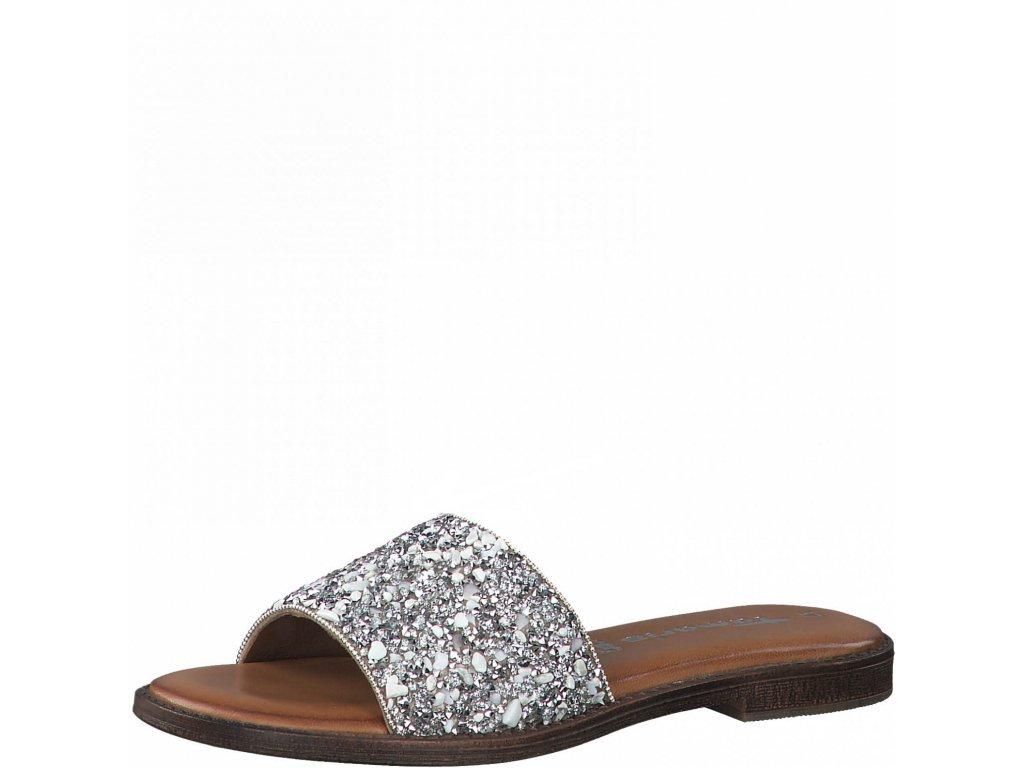 Silver glam pantofle Tamaris