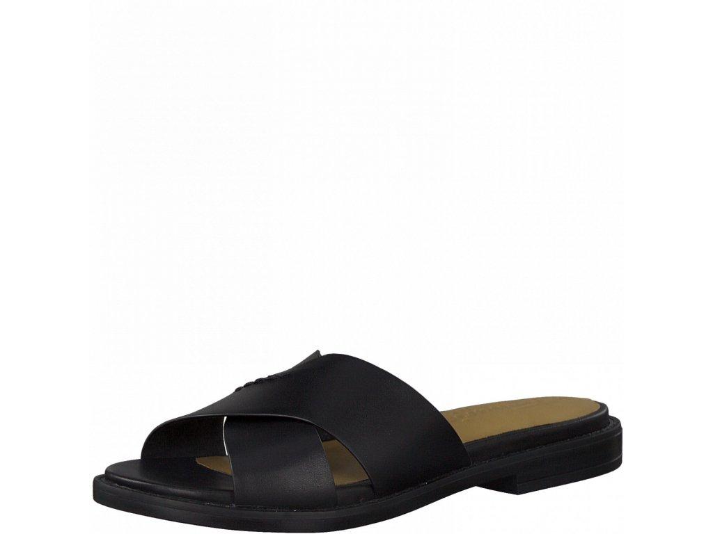 Black kožené pantofle Tamaris