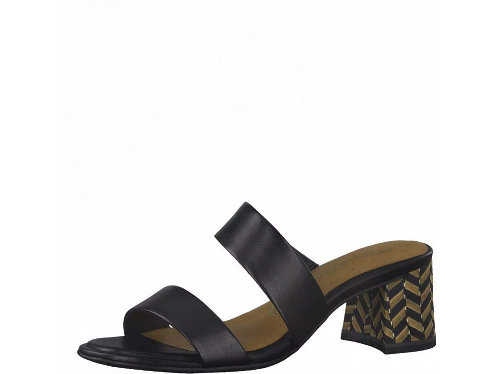 Černé kožené dámské pantofle Tamaris