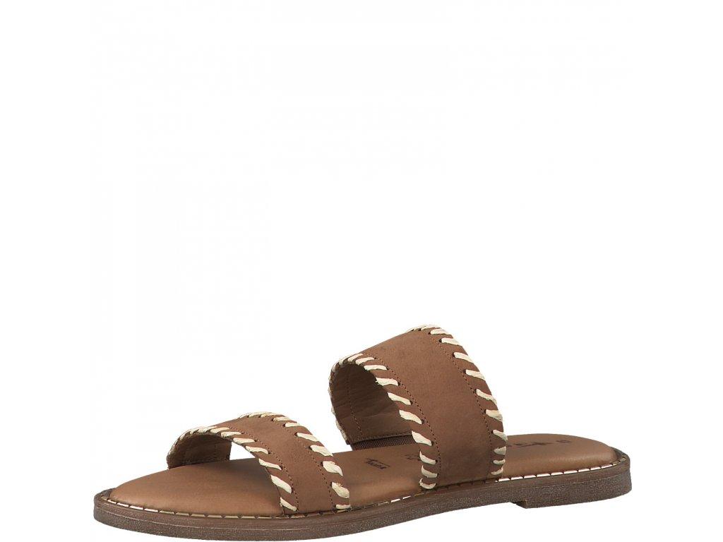 Koňakově hnědé dámské pantofle Tamaris