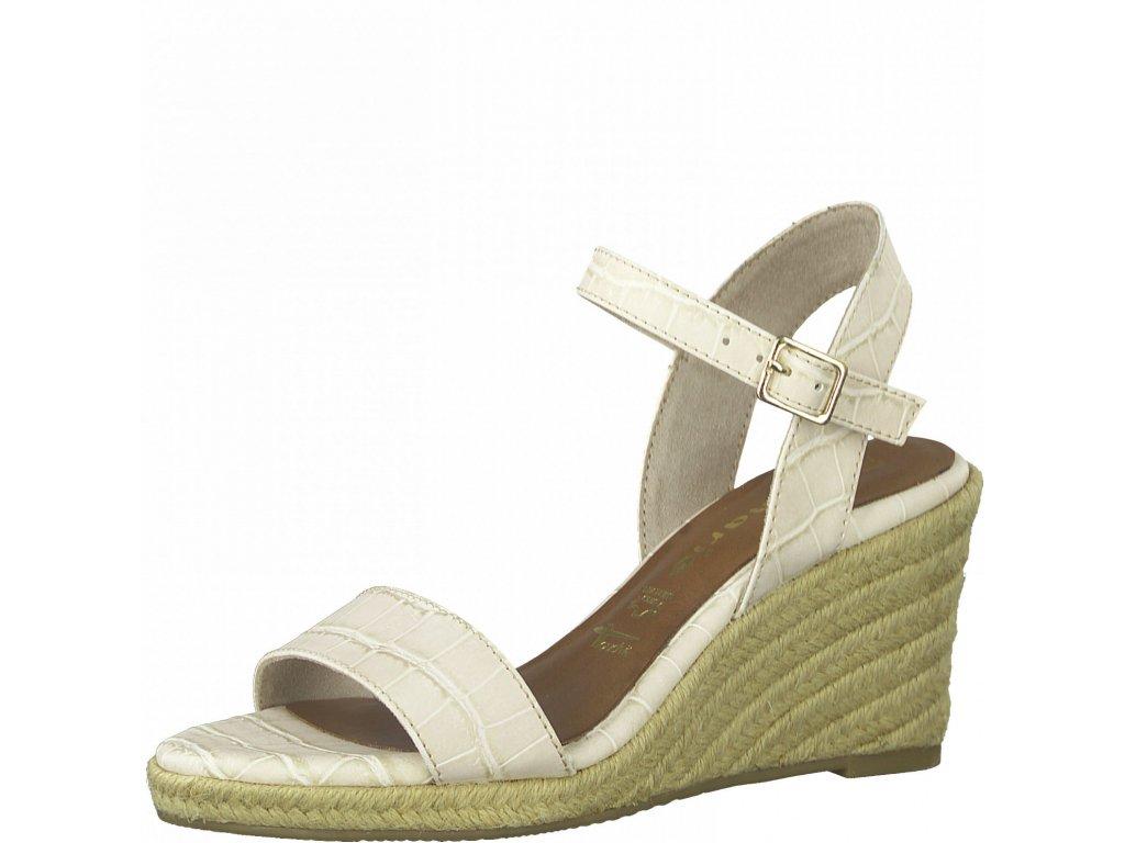 Cream croco sandály Tamaris