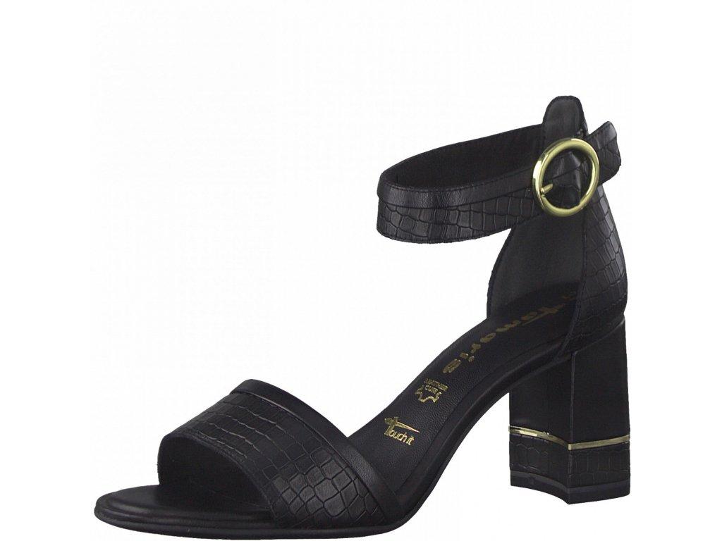 Black croco sandály Tamaris
