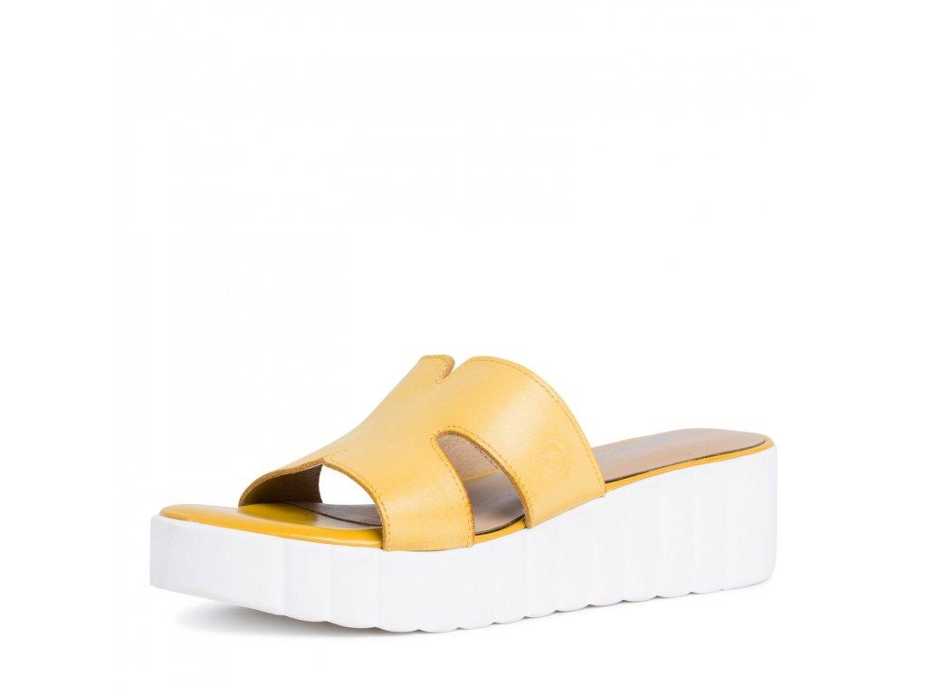 Vysoké žluto-bílé dámské pantofle Tamaris
