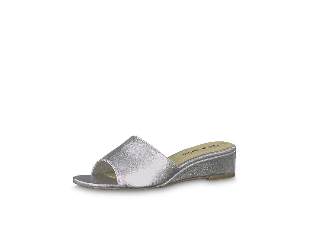 Luxusní stříbrné dámské pantofle Tamaris