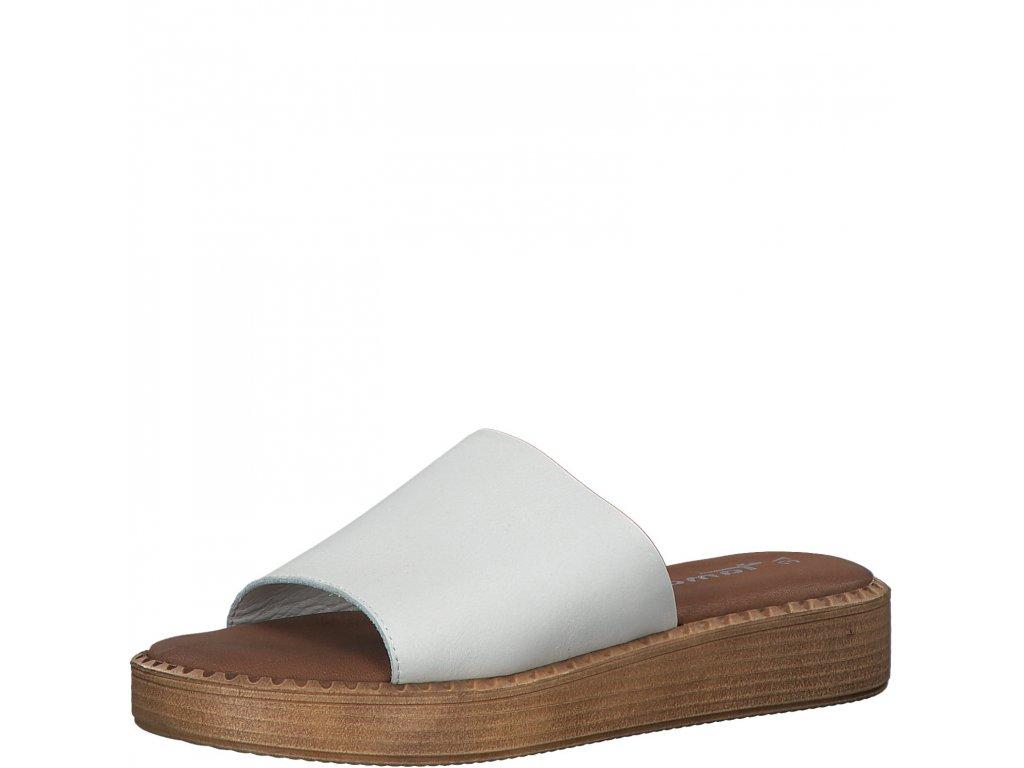 Bílá kůže dámské pantofle Tamaris