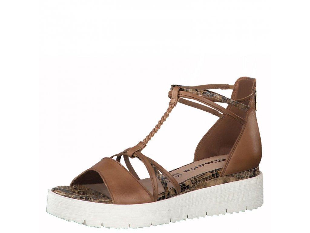 Snake cognac hnědé sandály Tamaris,dámské boty,kozačky,polobotky,baleríny,tenisky,mokasíny,lodičky,sandály,espadrilky,sneakersky,pantofle,nazouváky,kabelky,doplňky 3