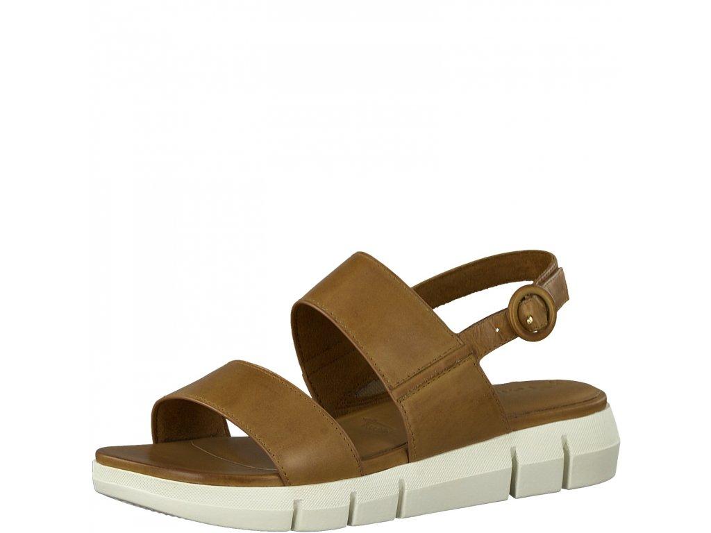 Cognac uni hnědé sandály Tamaris