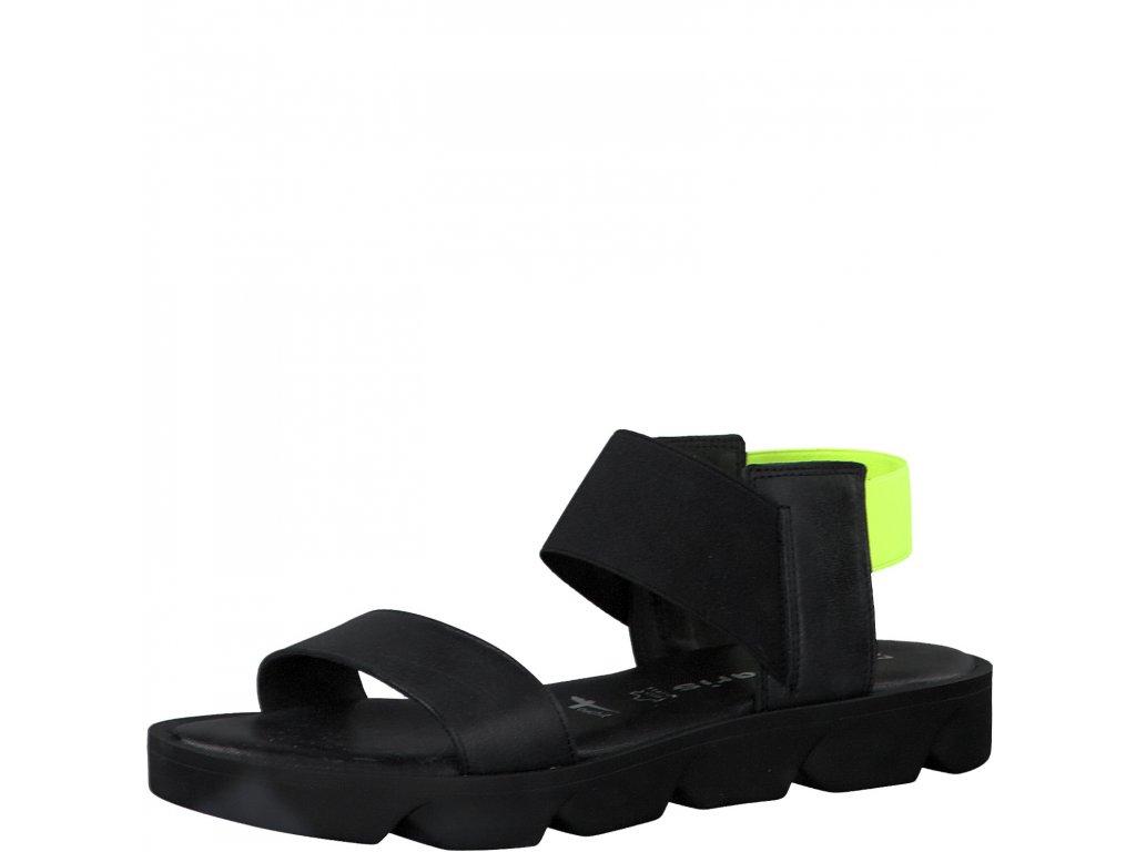 Black neon černé sandály Tamaris