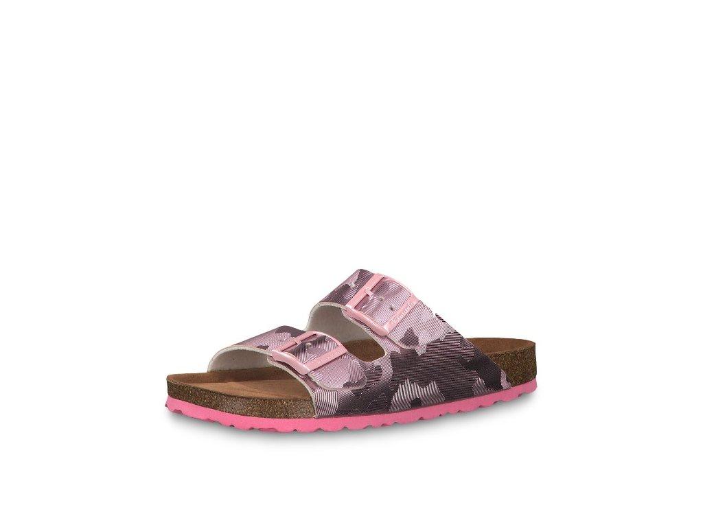 Růžové maskáčové dámské pantofle Tamaris