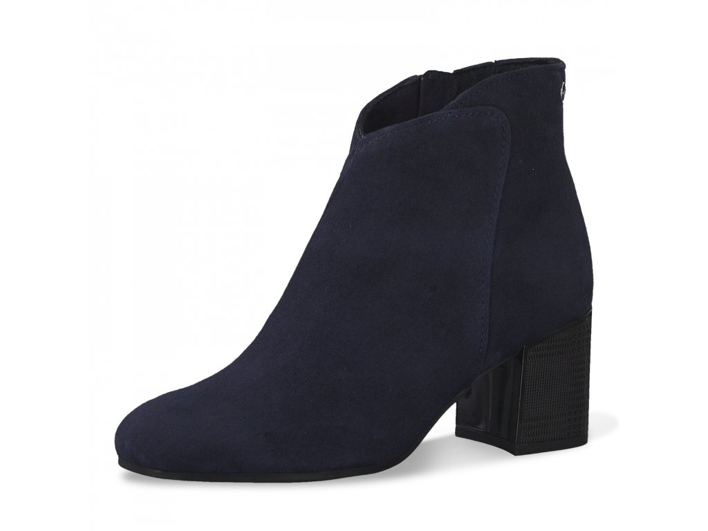 Navy modré kožené kotníkové boty Tamaris s kulatou špičkou