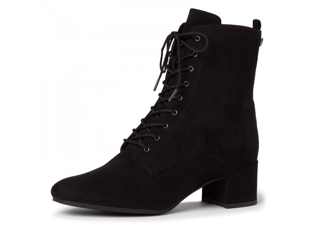 Šněrovací černé kotníkové boty Tamaris na zip