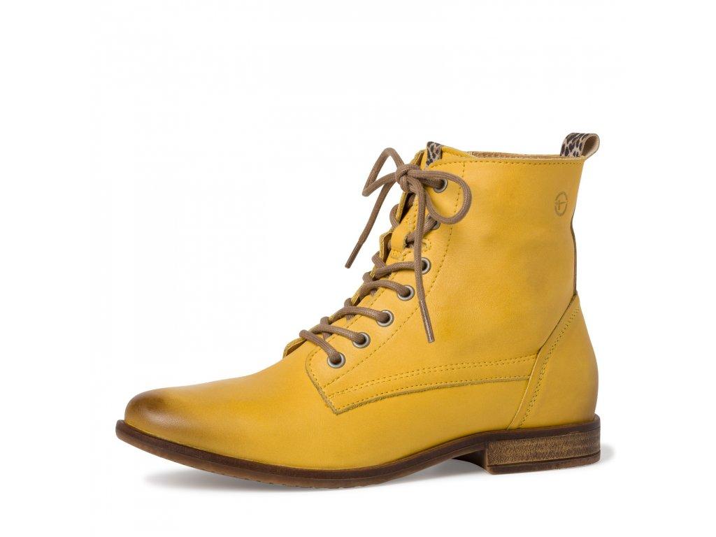 Slunečně žluté kožené kotníkové boty Tamaris