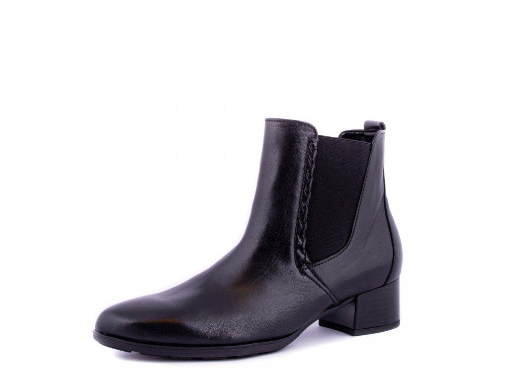 Černé kožené kotníkové boty Gabor