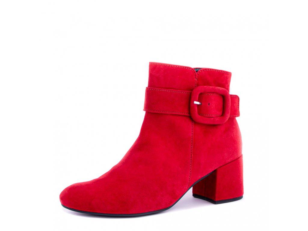 Rudé semišové kotníkové boty Gabor s přezkou