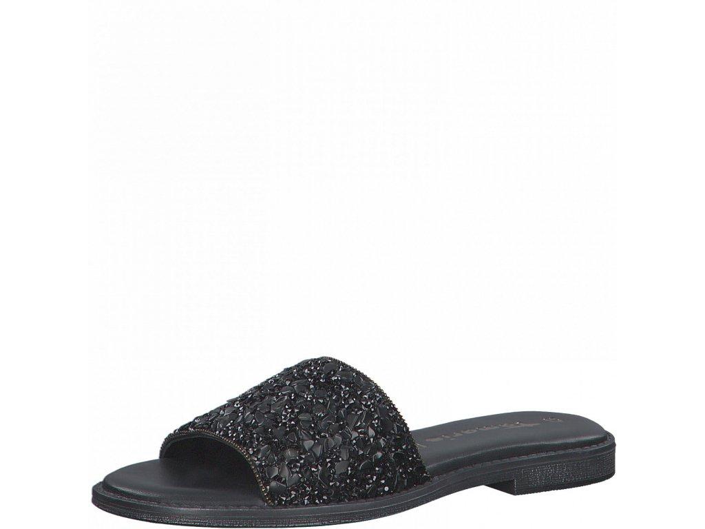 Black glam pantofle Tamaris