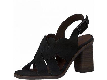 Černé kožené dámské sandály Tamaris
