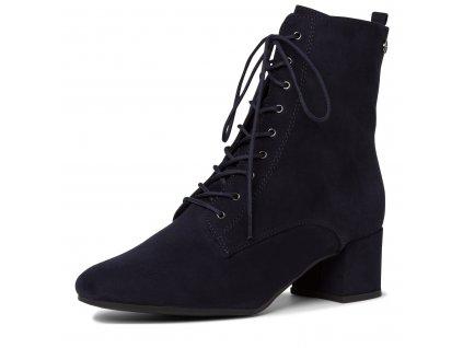 Šněrovací navy modré kotníkové boty Tamaris na zip