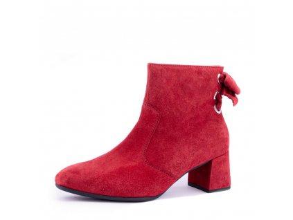 Elegantní rudé semišové kotníkové boty Gabor s mašlí
