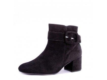 Černé semišové kotníkové boty Gabor s přezkou