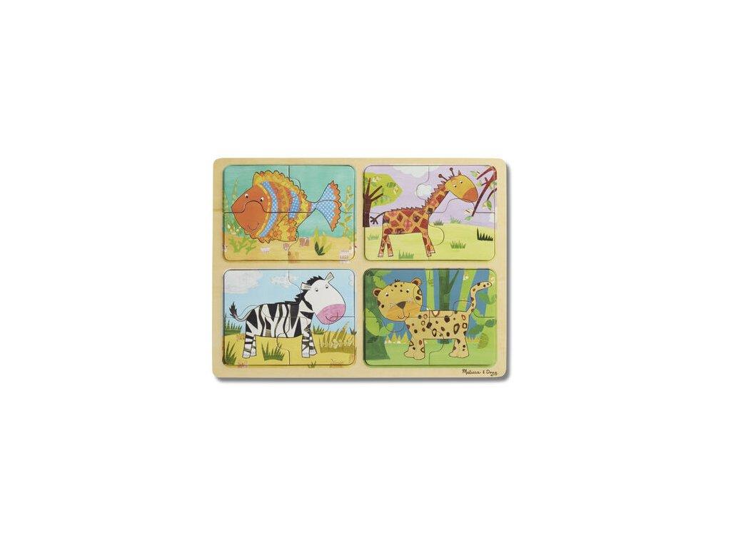 Natural Play: drevené puzzle - Zvieratká a vzory