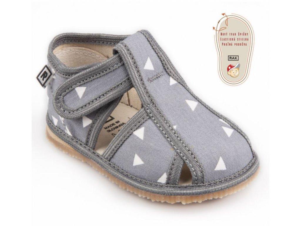 RAK papuce sandalkove sivytrojuholnik