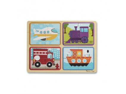 Natural Play: drevené puzzle - Dopravné prostriedky