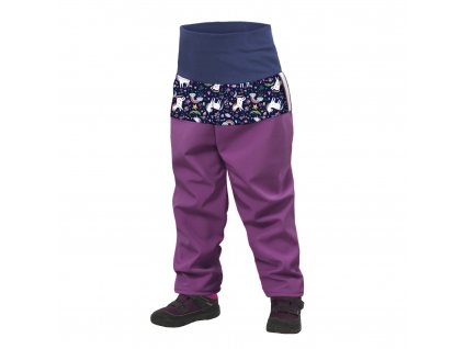10373 unuo batoleci softshellove kalhoty s fleecem ostruzinova jednorozci