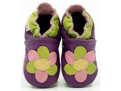 FIORINO kožené capáčky ekoTUPTUSIE - farebný kvet