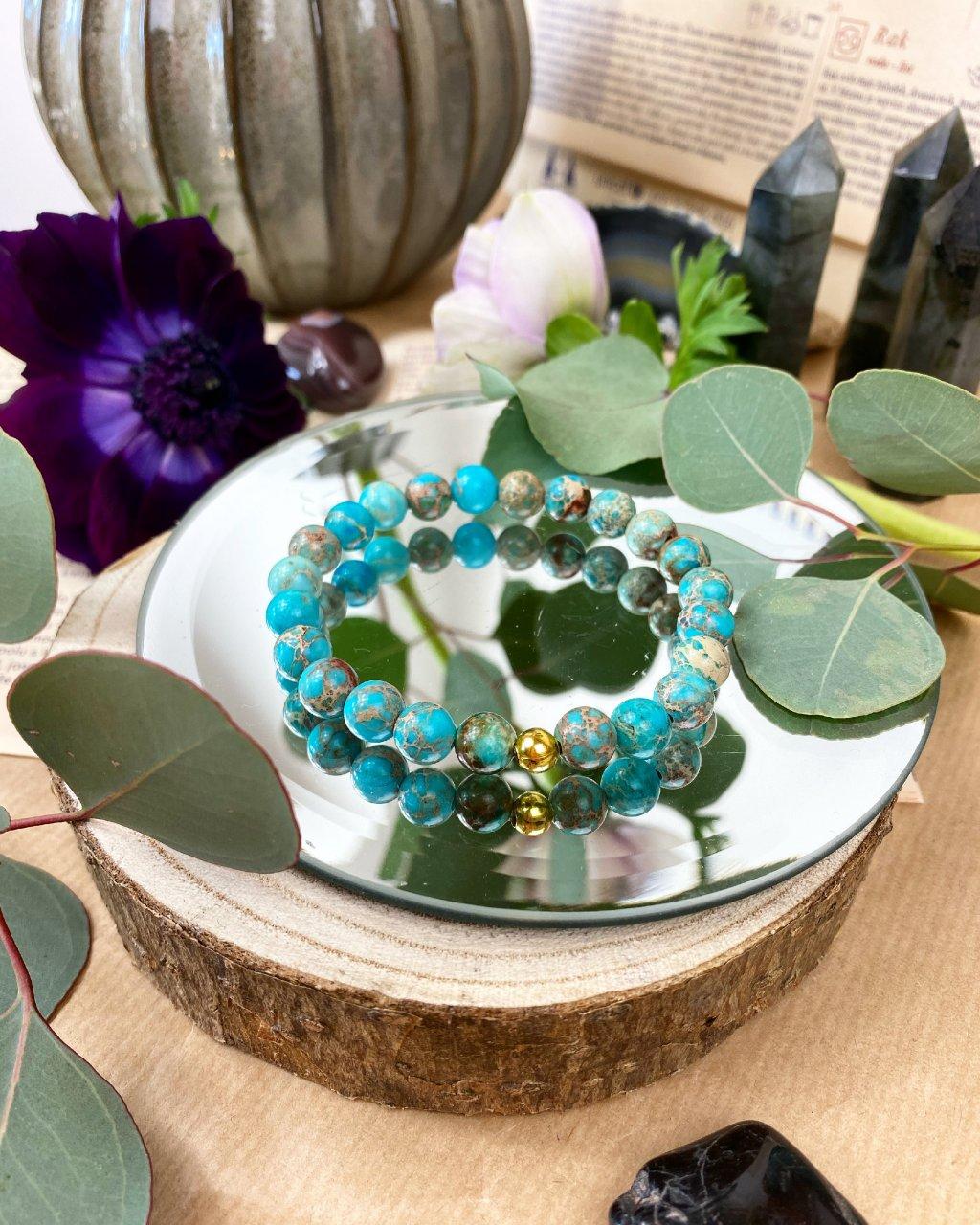 Náramek z minerálů mořský modrý achát s perličkou