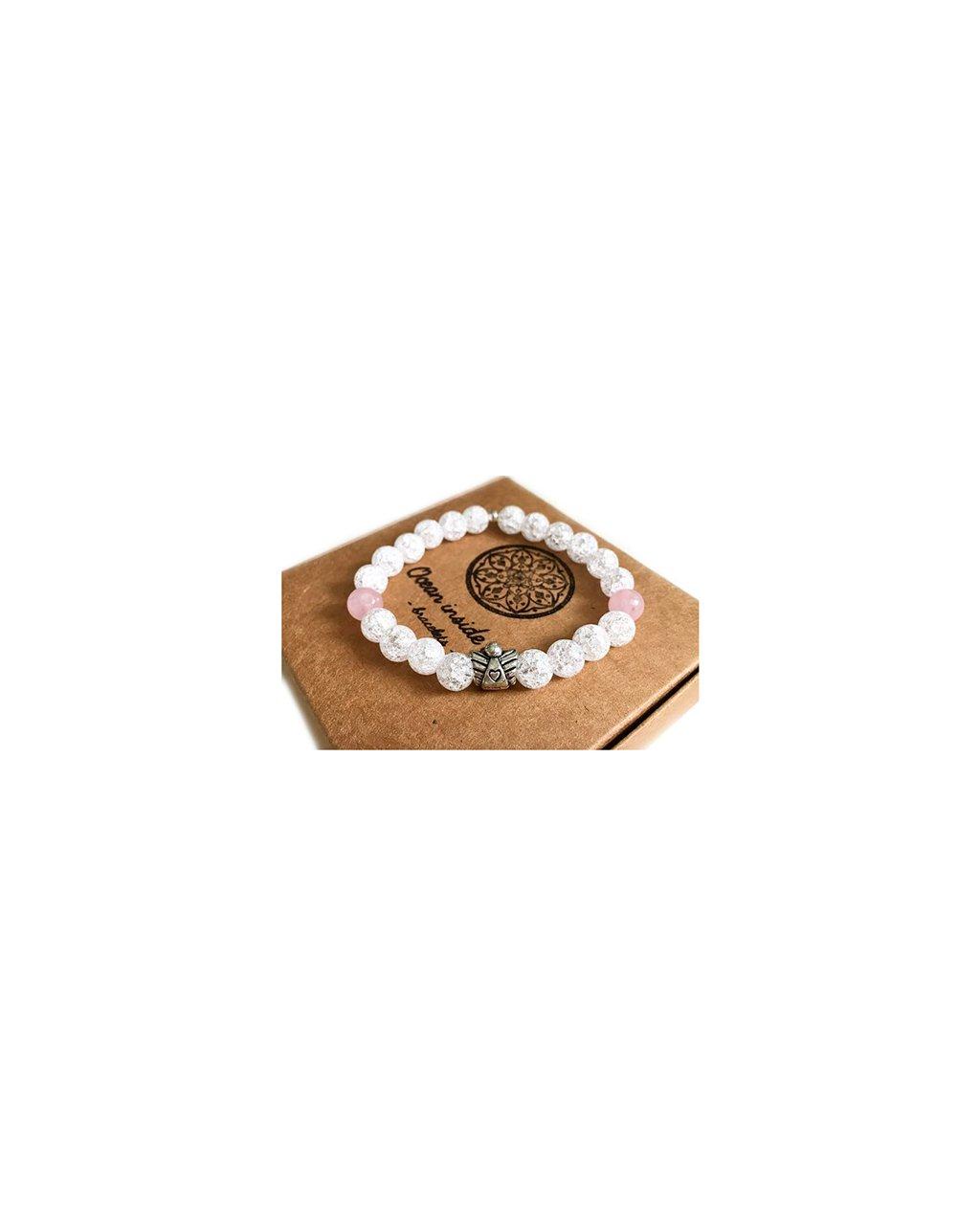 Minerální náramek Praskaný křišťál s andílkem a růženín