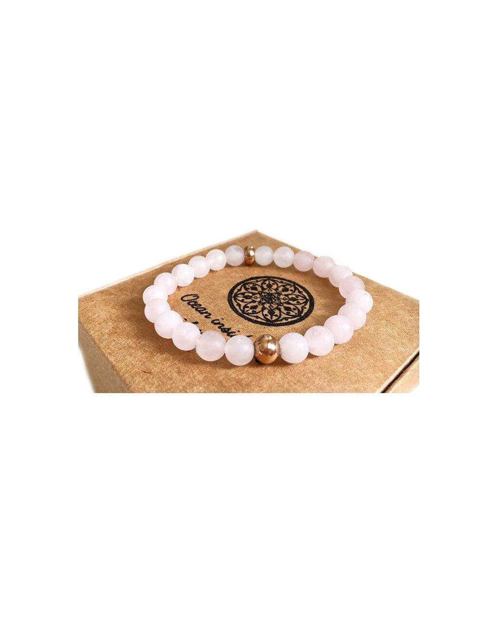 Minerální náramek matný růženín se zlatými korálky