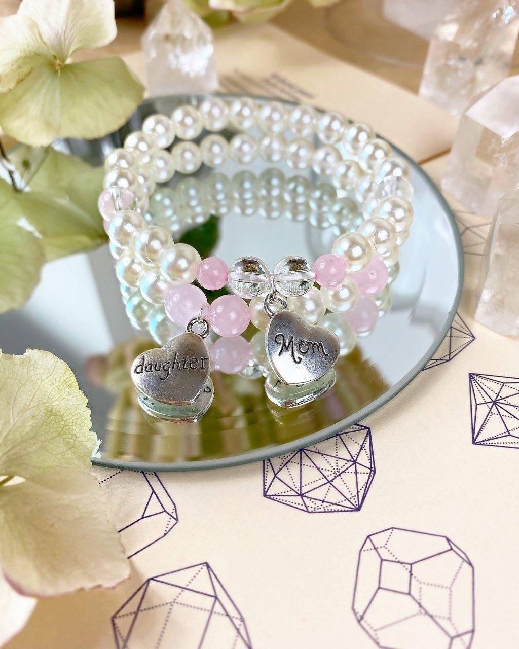 Náramky z minerálů perly ,,máma a dcera''