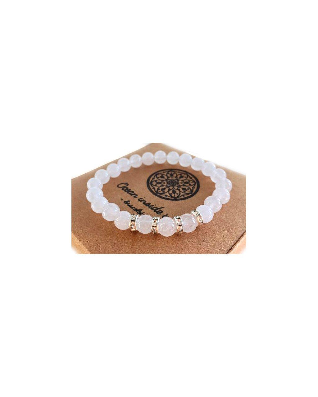 Náramek z minerálu andělsky bílý křišťál s blyštivými kamínky