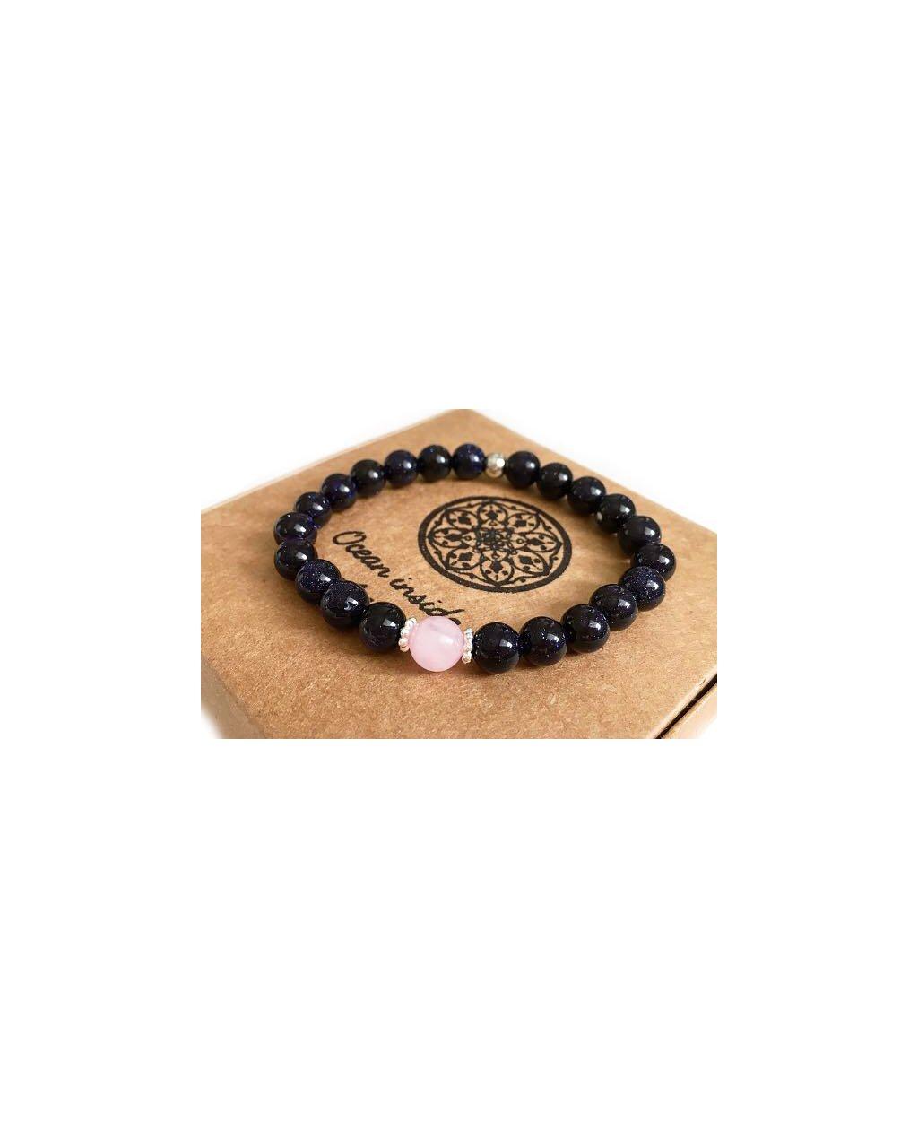 Náramek z minerálů perla z růženínu s lapis lazuli korálky