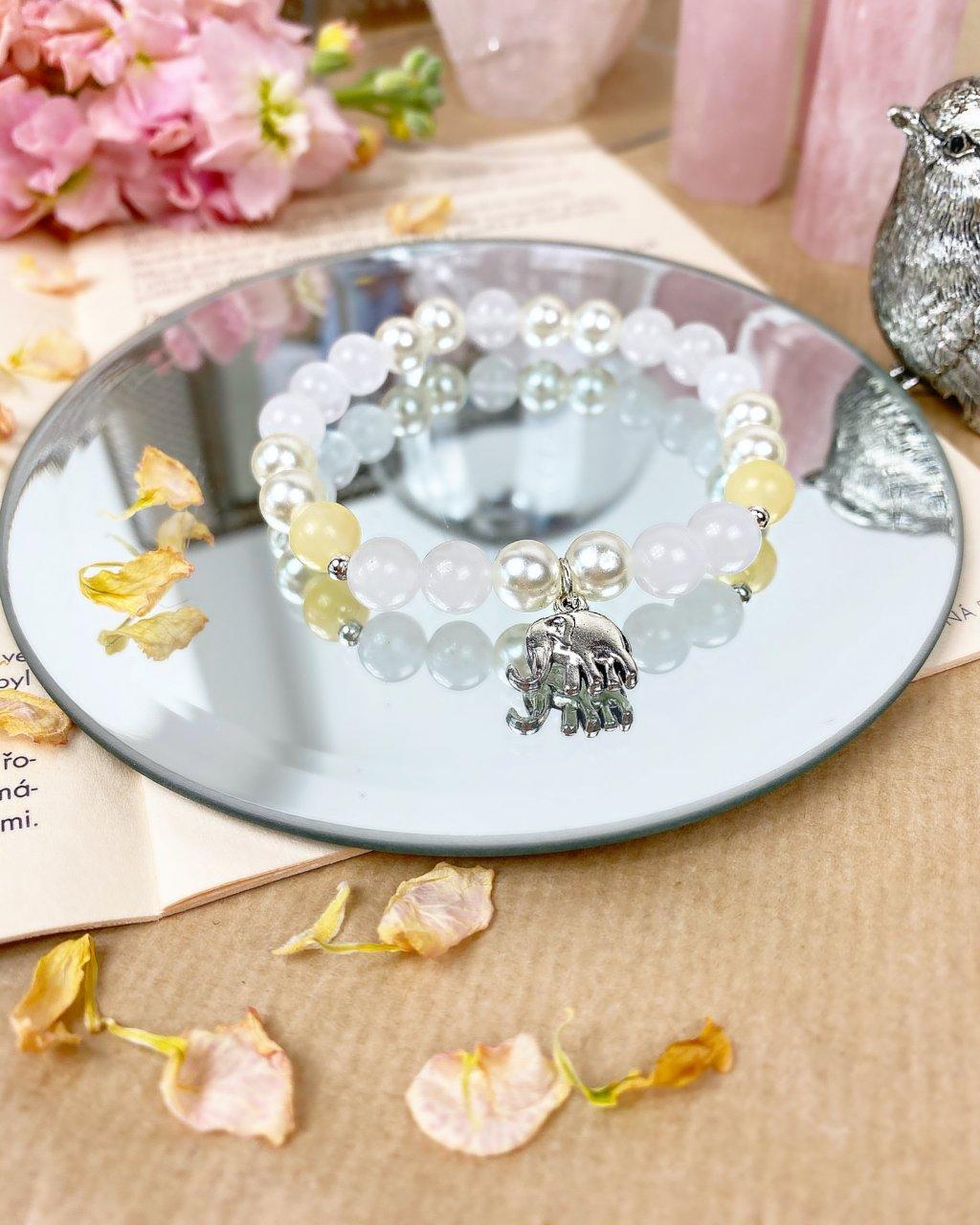 Náramek z minerálů pro štěstí s perlou, jadeitem sněžným a jaspisem žlutým
