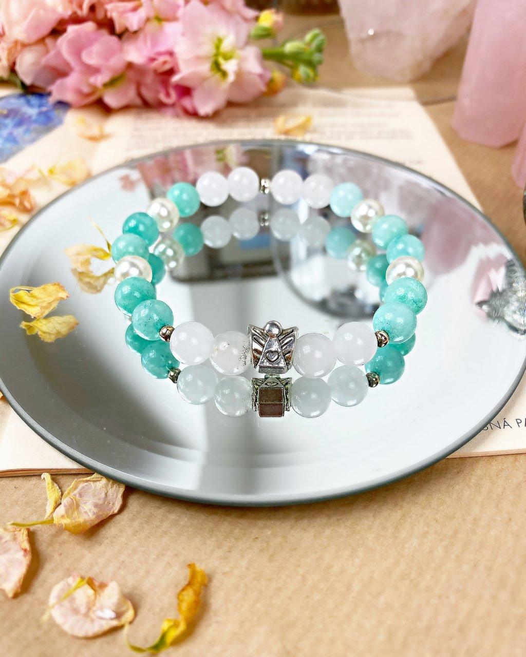 Náramek z minerálů andělská ochrana s perlou, zeleným avanturínem a mléčným křišťálem