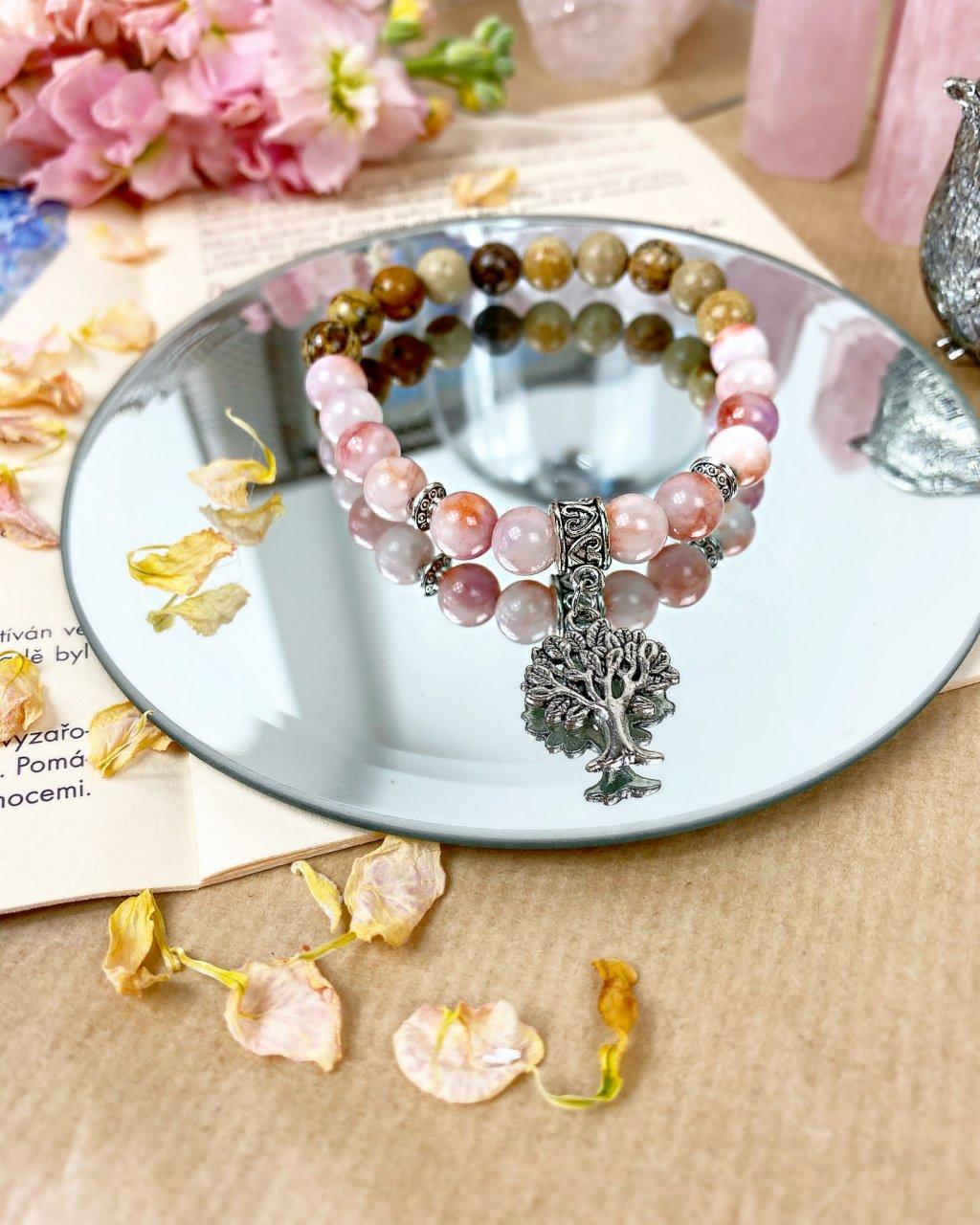 Náramek z minerálů strom života s jadeitem růžovým a achátem
