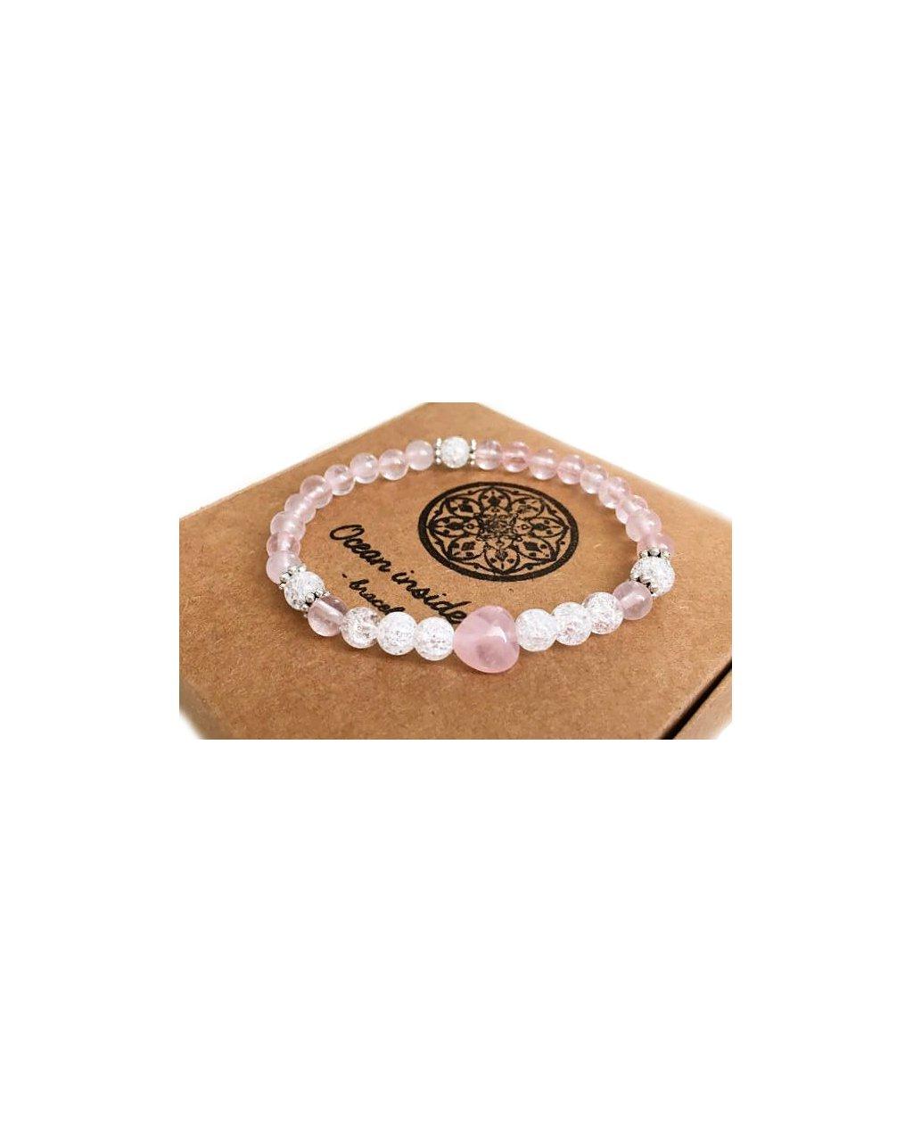 Náramek z minerálů srdce z růženínu s praskaným křišťálem