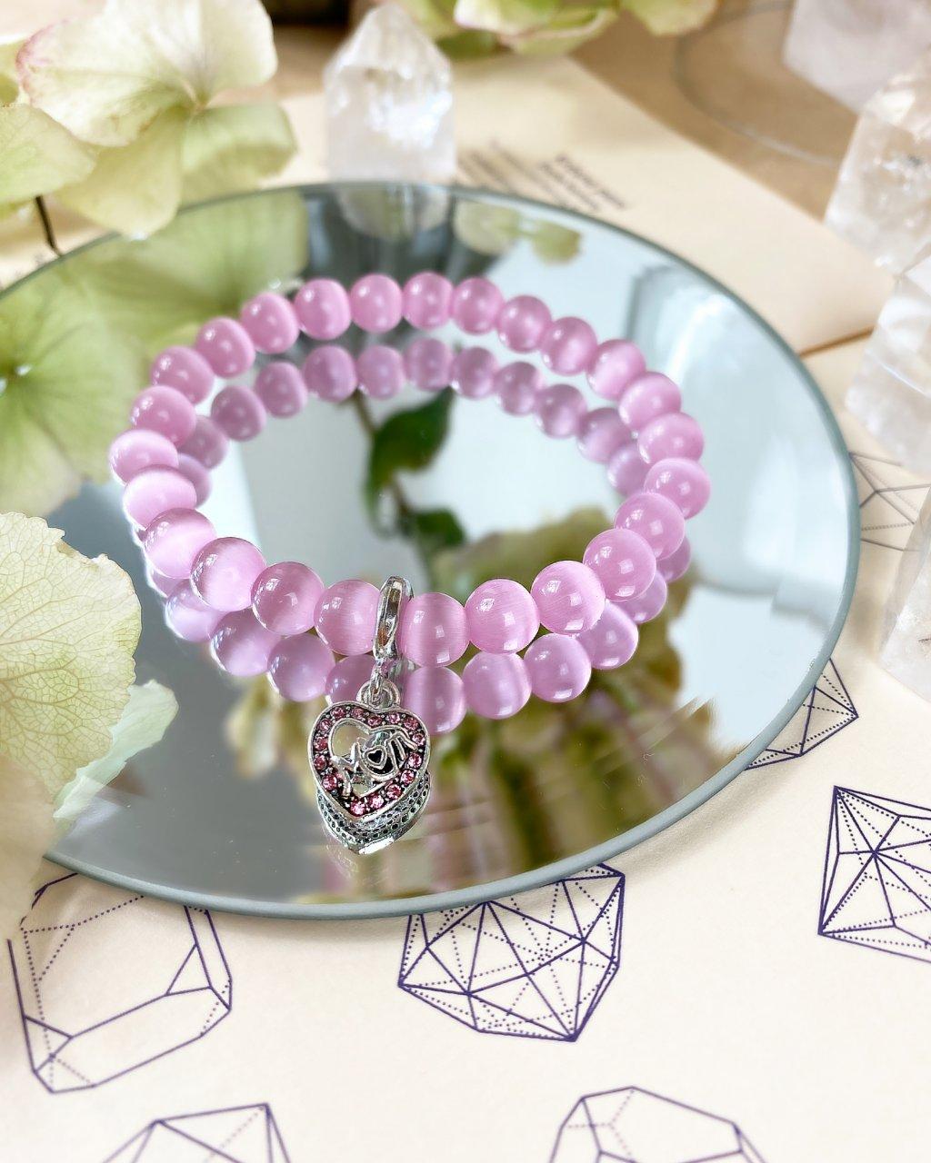 Náramek z minerálů pro maminky s růžovým opálem