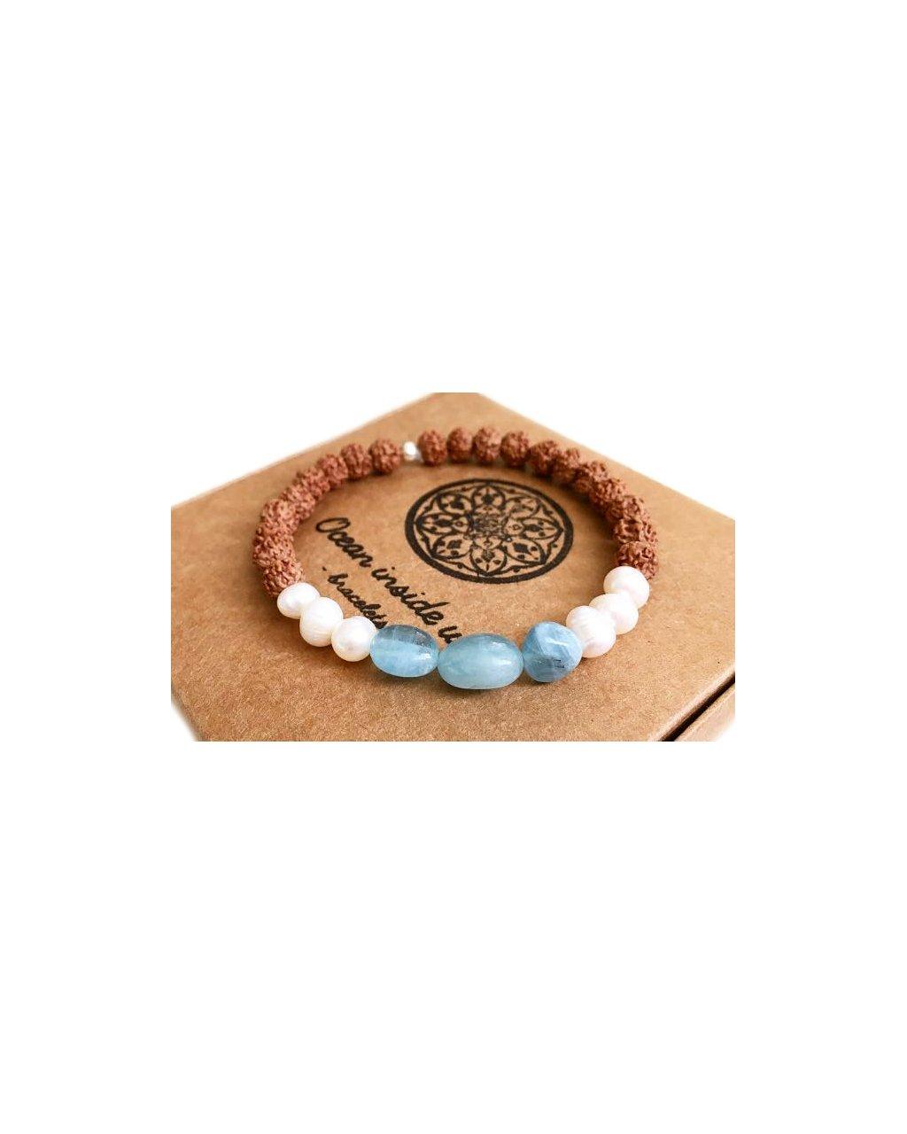 Náramek z minerálů rustikální akvamarín s říčními perlami a rudrakshou