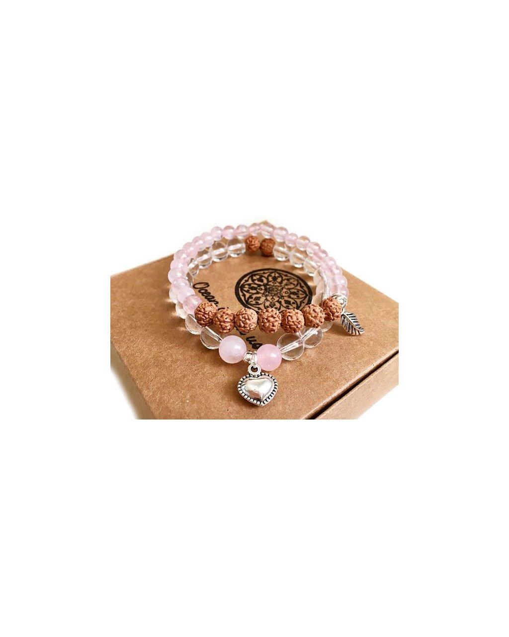 Dva náramky z minerálů s rudrakshou, růženínem a křišťálem