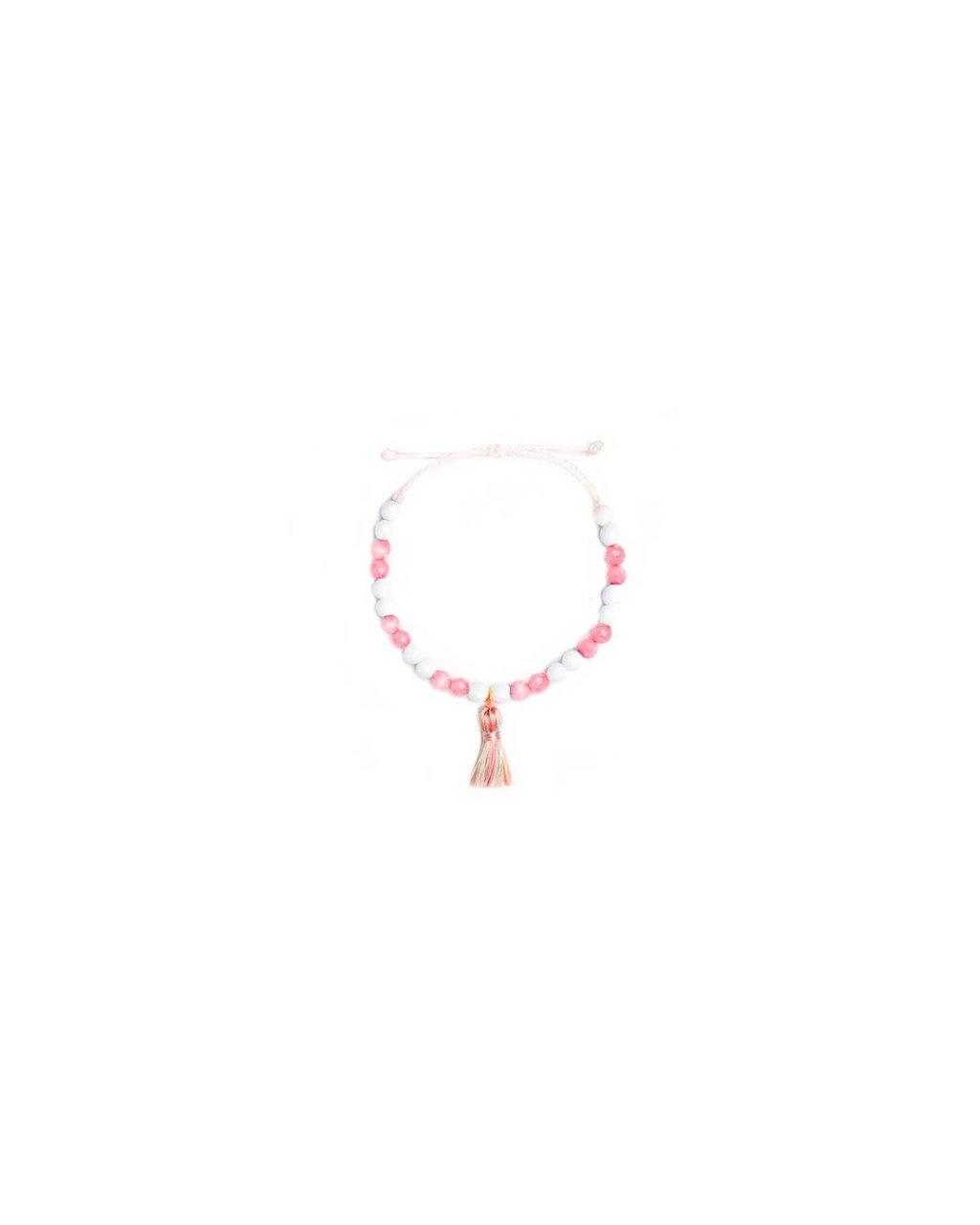 Jemný provázkový náramek s růžovými korálky a střapečkem