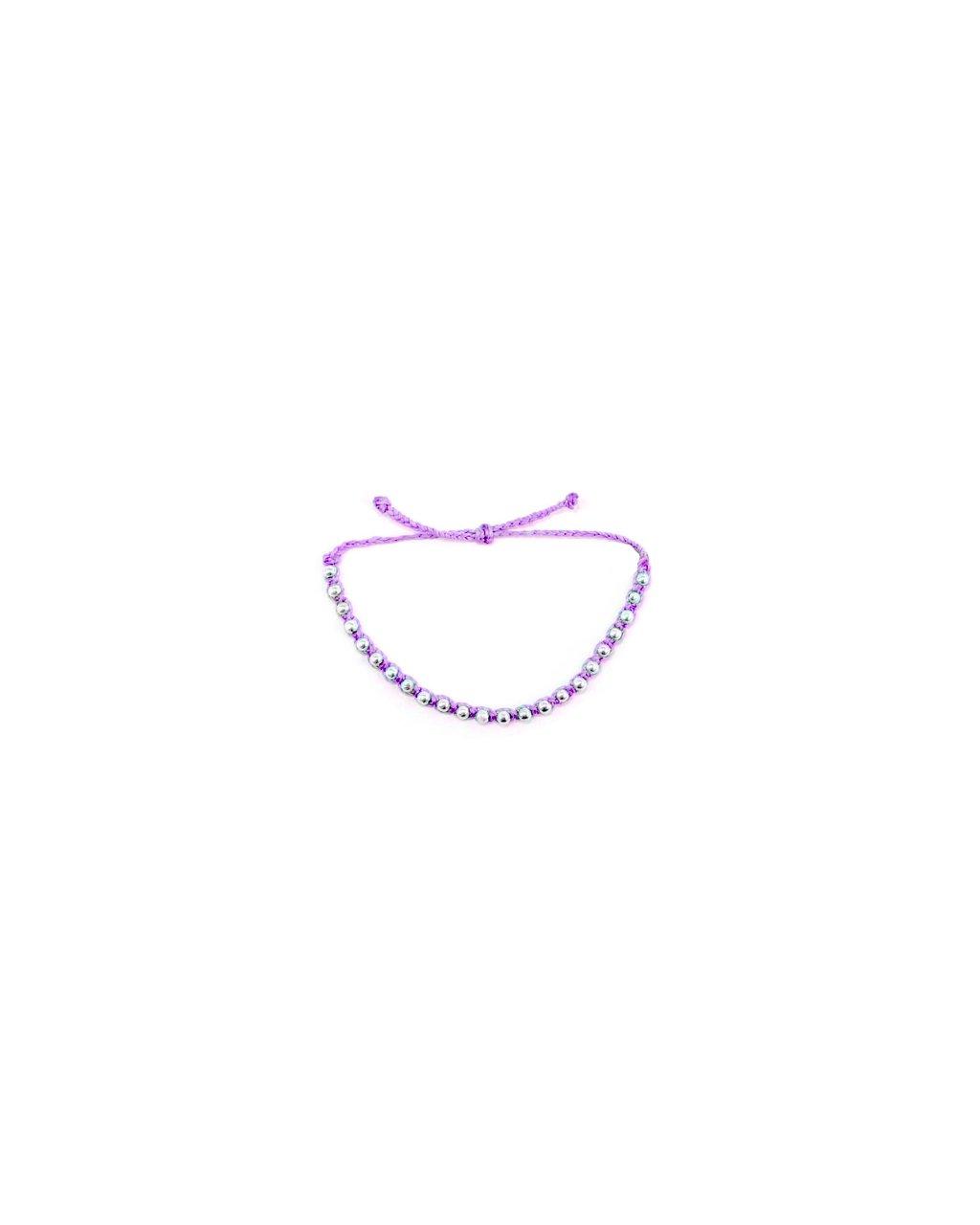 Jemný provázkový náramek macramé fialový