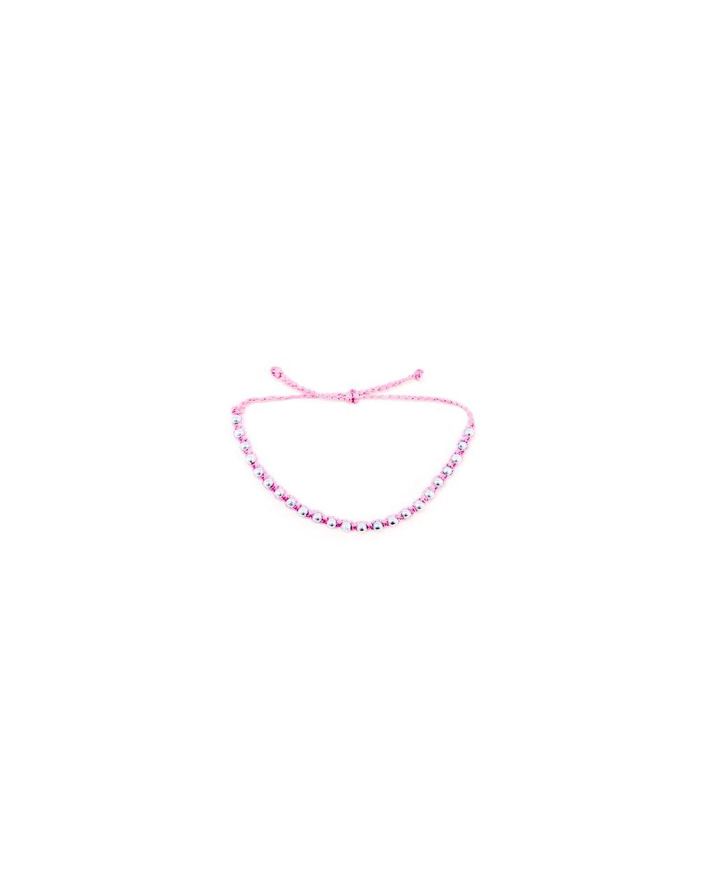 Jemný provázkový náramek macramé růžový