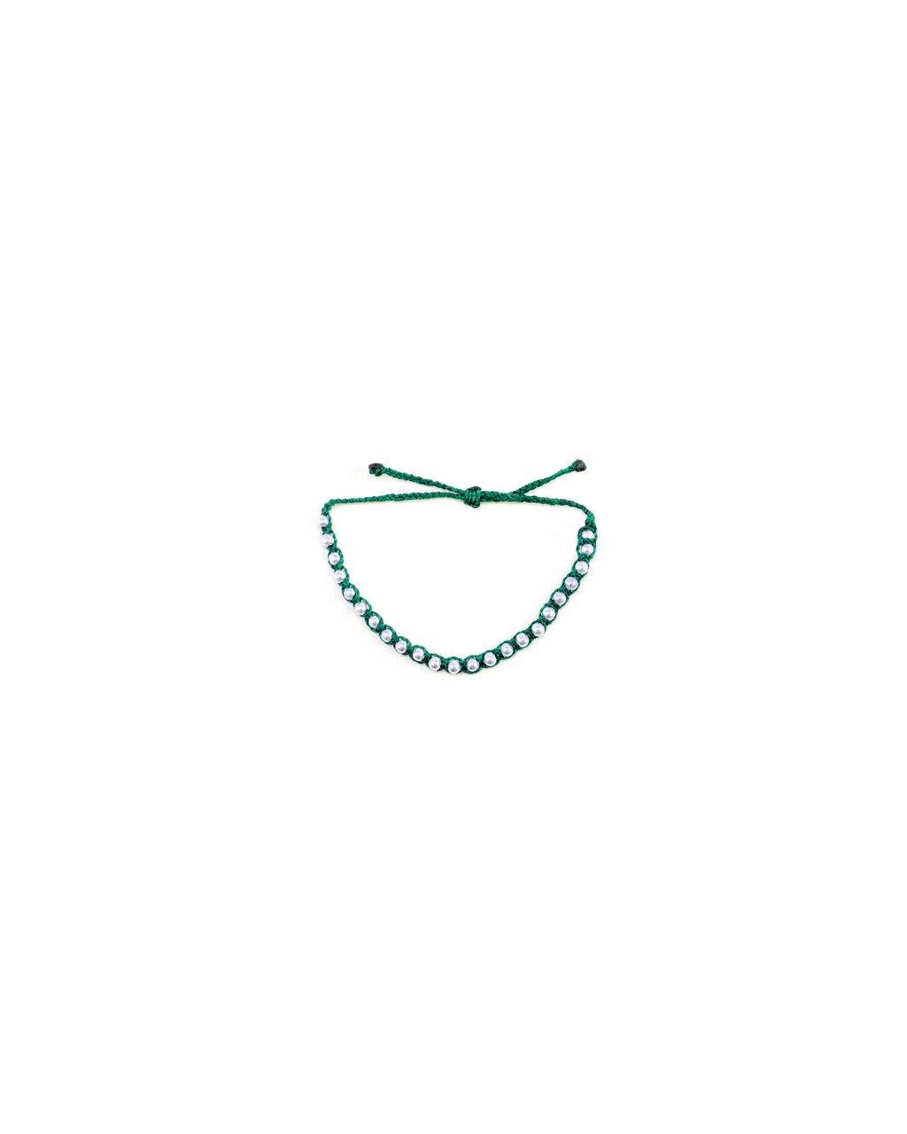 Jemný provázkový náramek macramé zelený